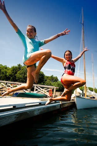 Kids jumping from the Harborfields dock; great swimming!