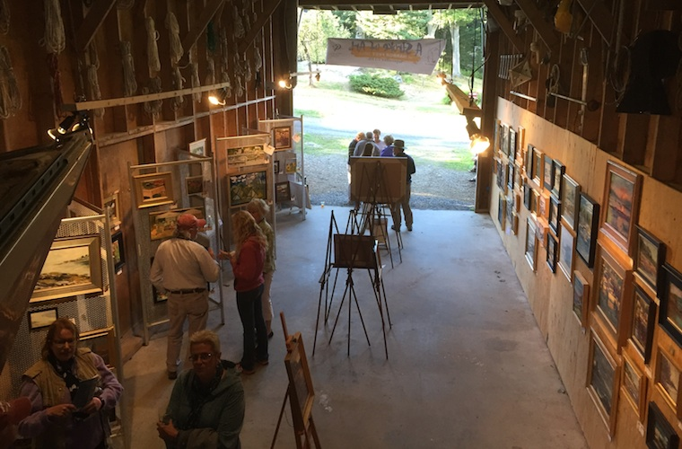 Boat Barn turned into an Art Gallery for the Boothbay HarborFest Stroke of Art