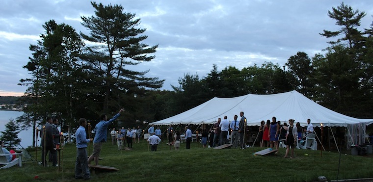 Keep your wedding guests entertained with Cornhole and other lawn games, Harborfields Cottages, Boothbay Harbor, Maine!