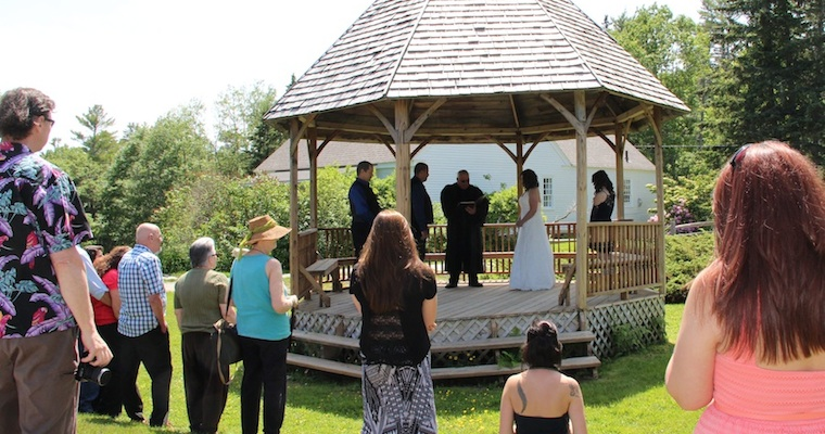 Wedding Ceremony in the Gazebo at Harborfields