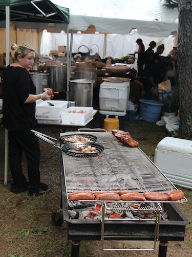 Behind the scenes at the catering tent.
