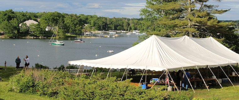 Wedding Tent set up on our Waterfront Lawn, Harborfields Cottages, Boothbay Harbor, Maine!