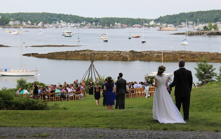 Here Comes the Bride, Waterfront Wedding at Harborfields Cottages, Boothbay Harbor, Maine!
