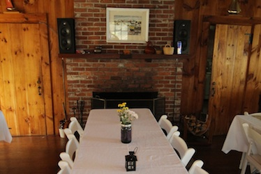Banquet Table in front of the fireplace in the Lodge at Harborfields