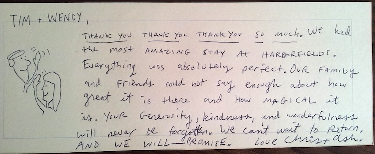 Note from bride and groom about their stay at Harborfields Cottages for their wedding