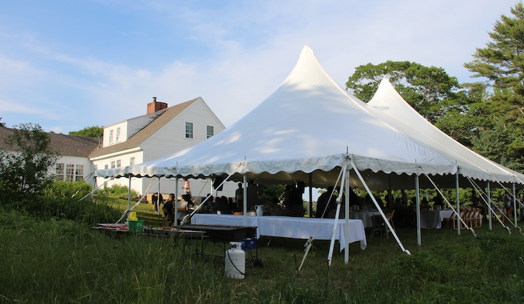 Wedding Tent set up on the south lawn of the 1780 Farmhouse at Harborfields