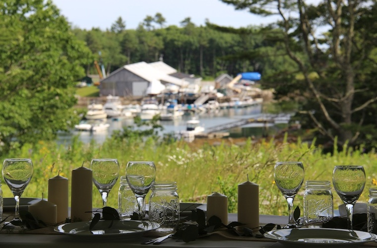 Wedding Reception overlooking the wildflower meadow on the BRLT Thorpe Preserve, Harborfields Cottages, Boothbay Harbor, Maine!