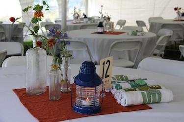 Table Setting for wedding at Harborfields Cottages, Boothbay Harbor, Maine!