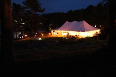 long-exposure pic of wedding tent at night on the waterfront lawn at Harborfields Cottages, Boothbay Harbor, Maine!