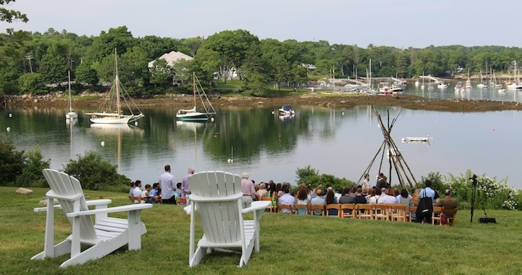Wedding on the waterfornt lawn at Harborfields Cottages, Boothbay Harbor, Maine!