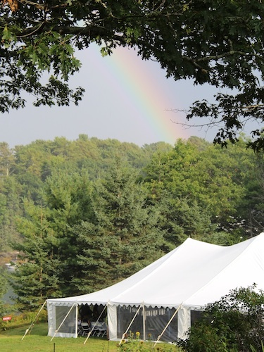 Rainbow over wedding tent, on the waterfront at Harborfields Cottages, Boothbay Harbor, Maine