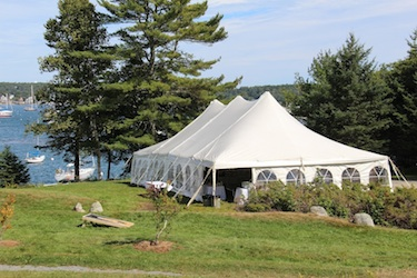 Wedding Tent on the diagonal, at Harborfields Cottages, Boothbay Harbor, Maine!