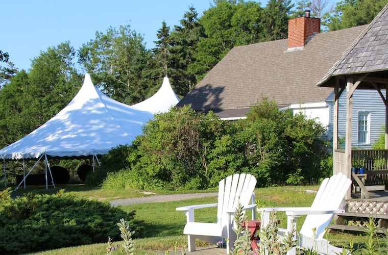 Wedding Tent set up on the 1780 Farmhouse South Lawn, Harborfields Cottages, Boothbay Harbor, Maine!